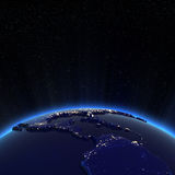 Luzes de América Central e de cidade dos EUA na noite ilustração do vetor