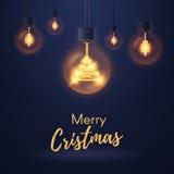 Luzes de bulbo do Natal Fotos de Stock Royalty Free