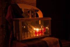 Luzes de Chanuka no Jerusalém Fotografia de Stock