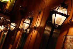 Luzes de gás do bairro francês de Nova Orleães Fotos de Stock Royalty Free