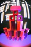 Luzes de néon em blocos de apartamentos de madeira do brinquedo Fotografia de Stock