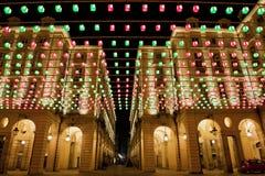 Luzes de Natal 2010 de Turin imagens de stock