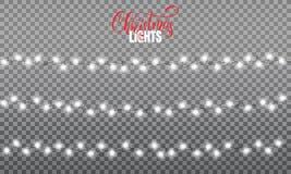 Luzes de Natal As luzes realísticas da corda projetam elementos de cores cor-de-rosa e amarelas Imagem de Stock Royalty Free