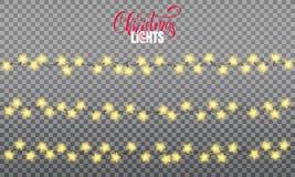 Luzes de Natal As luzes realísticas da corda projetam elementos de lâmpadas da forma da estrela Luzes de incandescência por feria ilustração do vetor