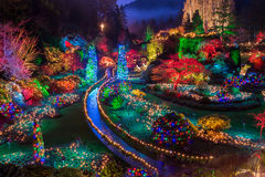 Luzes de Natal coloridas dos jardins de Butchart Fotografia de Stock Royalty Free