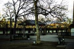 Luzes de Natal da plaza foto de stock