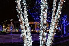 Luzes de Natal de Grand Rapids imagem de stock