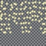 Luzes de Natal do vetor, isoladas em um fundo transparente imagens de stock