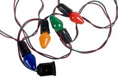 Luzes de Natal do vintage isoladas no branco Imagem de Stock