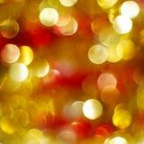 Luzes de Natal douradas e vermelhas Imagens de Stock Royalty Free