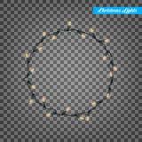 Luzes de Natal Elementos realísticos do projeto das luzes da corda Luzes de incandescência por feriados de inverno Festões brilha Imagens de Stock