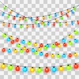 Luzes de Natal Festão colorida do Xmas ilustração do vetor