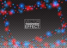 Luzes de Natal de incandescência no fundo transparente Colora decorações festivas do feriado do Xmas das festões Vetor Fotografia de Stock Royalty Free