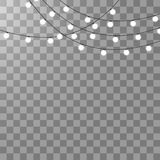 Luzes de Natal isoladas no fundo transparente Festão de incandescência do Xmas Ilustração do vetor ilustração do vetor