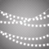 Luzes de Natal isoladas no fundo transparente Festão de incandescência do xmas do vetor Imagens de Stock Royalty Free