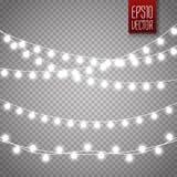 Luzes de Natal isoladas no fundo transparente Festão de incandescência do xmas do vetor ilustração do vetor
