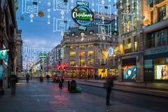 Luzes de Natal na rua de Oxford, Londres, Reino Unido Fotografia de Stock