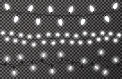 Luzes de Natal no fundo transparente Festão branca, brilhante e incandescendo do Natal Decoração do ano novo ilustração royalty free