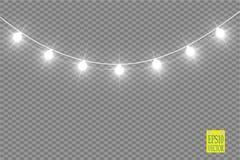 Luzes de Natal no fundo transparente Festão de incandescência do Xmas Ilustração do vetor ilustração stock