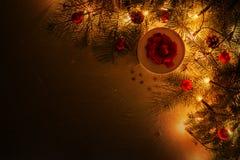Luzes de Natal, ramo de árvore, presente do Natal com fita vermelha e decoração imagem de stock royalty free