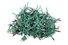 Luzes de Natal Tangled Fotografia de Stock
