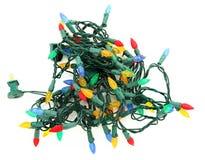 Luzes de Natal Tangled do diodo emissor de luz Foto de Stock