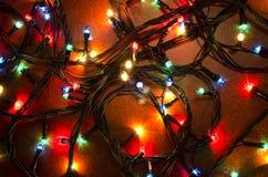 Luzes de piscamento coloridas do Natal Fotos de Stock Royalty Free