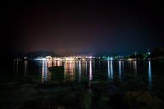 Luzes de Pollonia na noite Fotos de Stock Royalty Free