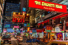Luzes de ruas de Nathan Road Tsim Sha Tsui Kowloon Hong Kong fotos de stock