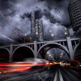 Luzes de uma cidade da noite Fotografia de Stock Royalty Free