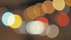Luzes do borrão da cidade da noite Bokeh colorido video estoque