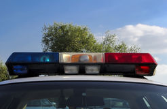 Luzes do carro de polícia Imagens de Stock Royalty Free