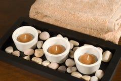 Luzes do chá com toalha Fotos de Stock Royalty Free