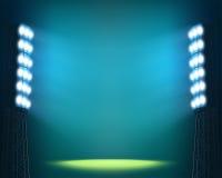 Luzes do estádio contra o fundo escuro do céu nocturno ilustração stock