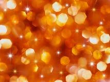 Luzes do feriado do vermelho e do ouro Foto de Stock Royalty Free