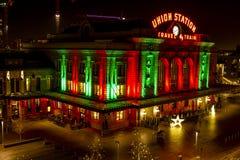 2015 luzes do feriado na estação Denver da união Fotografia de Stock Royalty Free