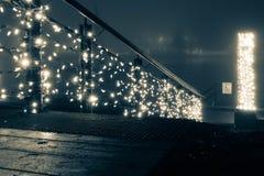 Luzes do feriado na névoa Fotografia de Stock Royalty Free