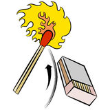 Luzes do Matchstick golpeando a caixa de fósforos Fotos de Stock