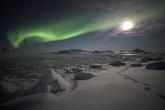 Luzes do norte - Spitsbergen Imagem de Stock Royalty Free