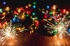 Luzes do ` s do ano novo Imagens de Stock Royalty Free