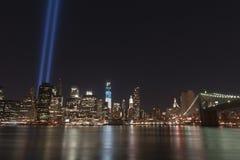 Luzes do tributo setembro de 11 Imagens de Stock Royalty Free