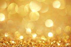 Luzes douradas brilhantes Fotografia de Stock