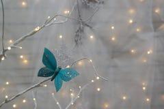 Luzes e borboleta de Natal Fotos de Stock Royalty Free