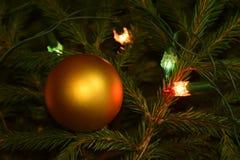 Luzes e decorações da árvore de Natal em ramos de árvore do abeto Fotografia de Stock