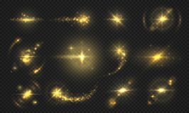 Luzes e faíscas dos flashes Efeito dourado do brilho, partículas transparentes brilhantes e raios, efeitos abstratos do alargamen ilustração do vetor