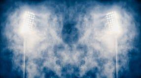 Luzes e fumo do estádio foto de stock