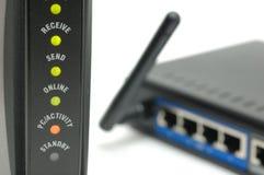Luzes e router do modem Imagens de Stock Royalty Free