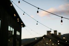 Luzes em uma corda Fotos de Stock
