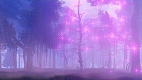 Luzes feericamente na animação enevoada da floresta 4K da noite video estoque