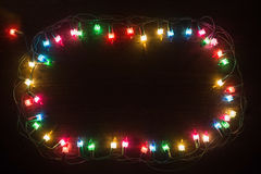 Luzes Garland Colorful Background Fotos de Stock